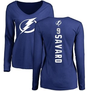 Denis Savard Tampa Bay Lightning Women's Royal Backer V-Neck Long-Sleeve T-Shirt -